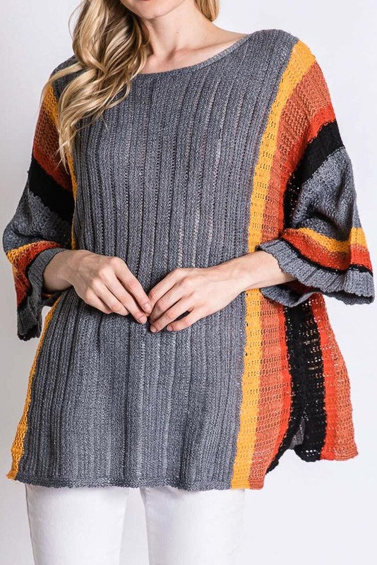 Dolman Sleeve Striped Ribbed Sweater
