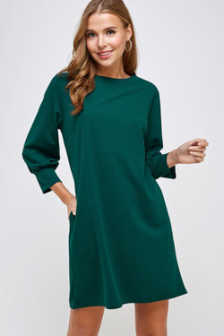 Shift Dress with Pockets-Huntergreen