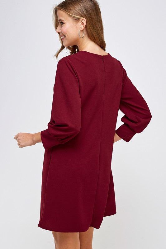 Solid Shift Dress with Pockets-Red