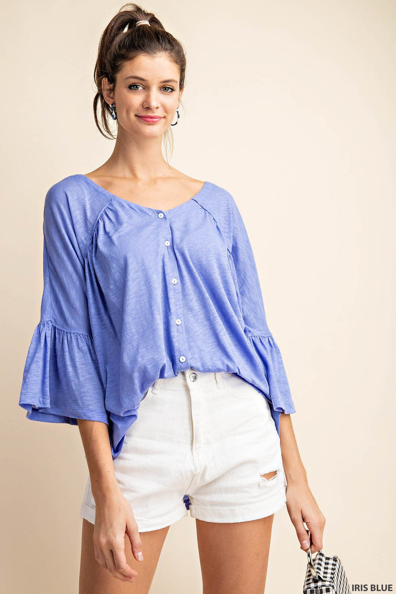 Button Down Baby Doll Tee-Blue