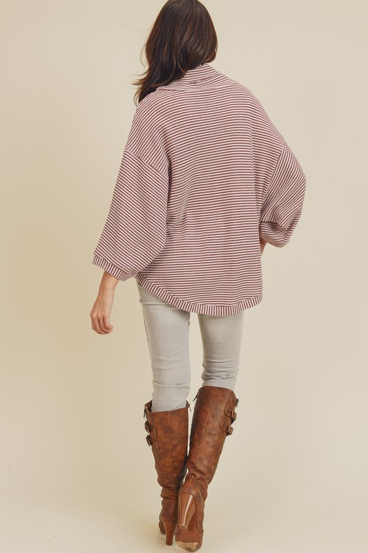 THERMAL STRIPE COW NECK Top-Berry Red