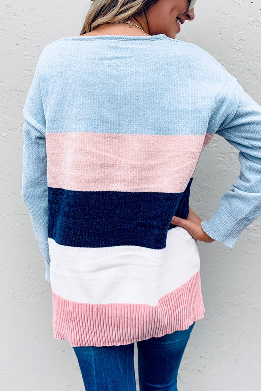 Color Block V-Neck Soft Sweater