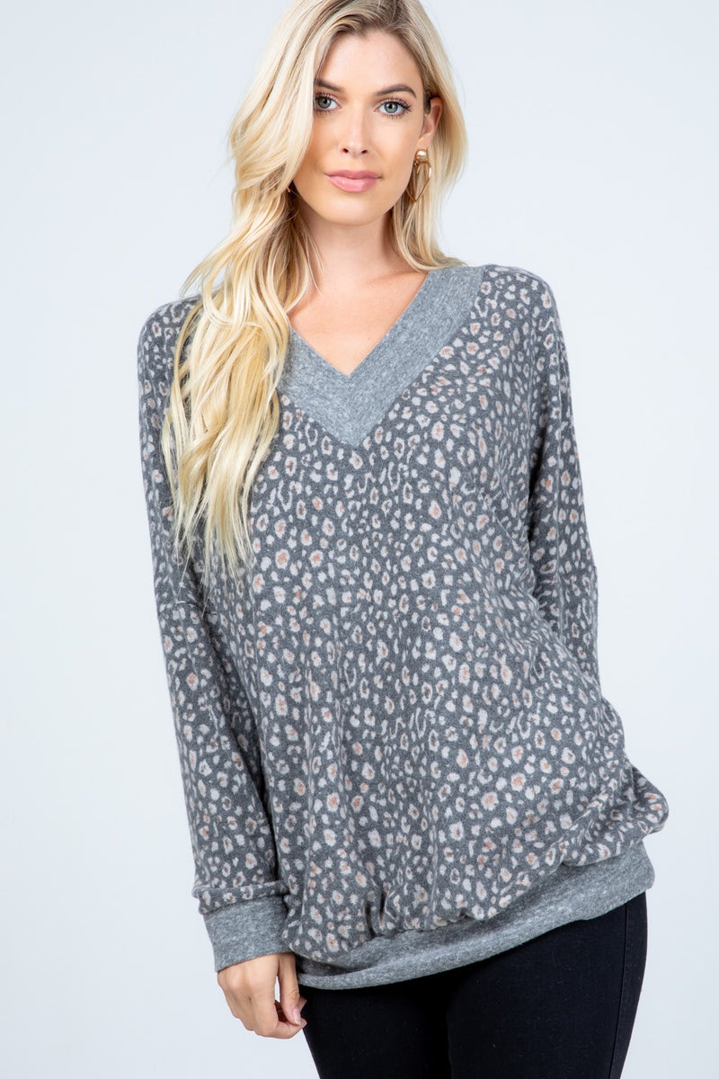 Oversized Animal Print Brushed Sweater-Gray