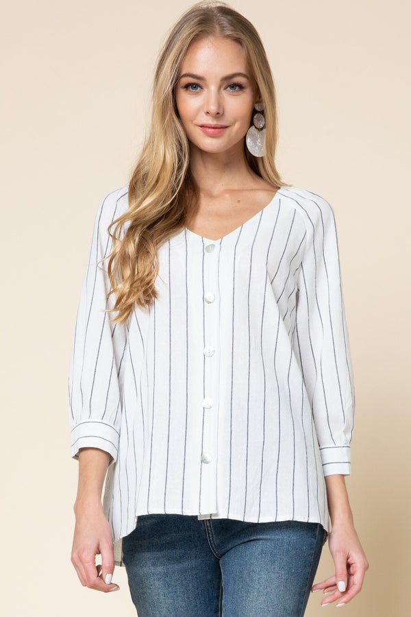 Pinstripe Button Up-Off White