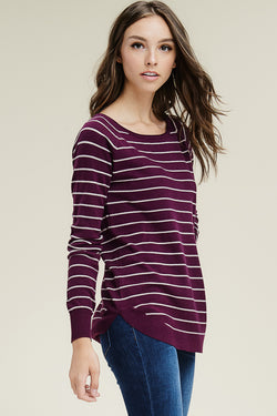 Boat Neck Striped Sweater-Plum