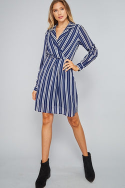 Long Sleeve Striped Dress-Navy