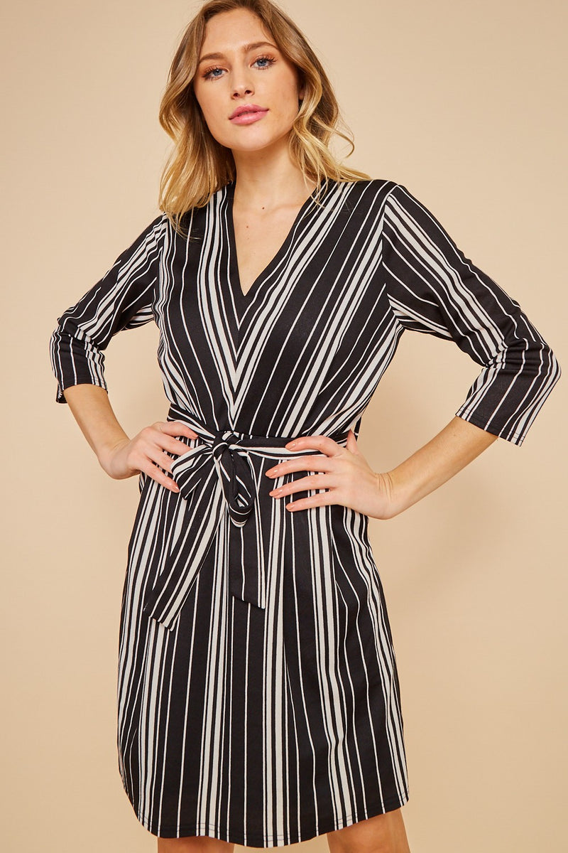 Striped Belted Dress-Black