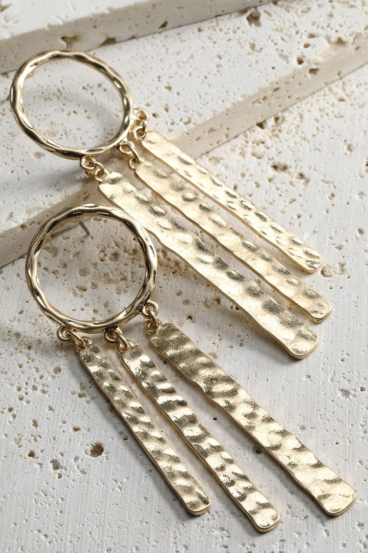 Hammered Metal Bar Earrings