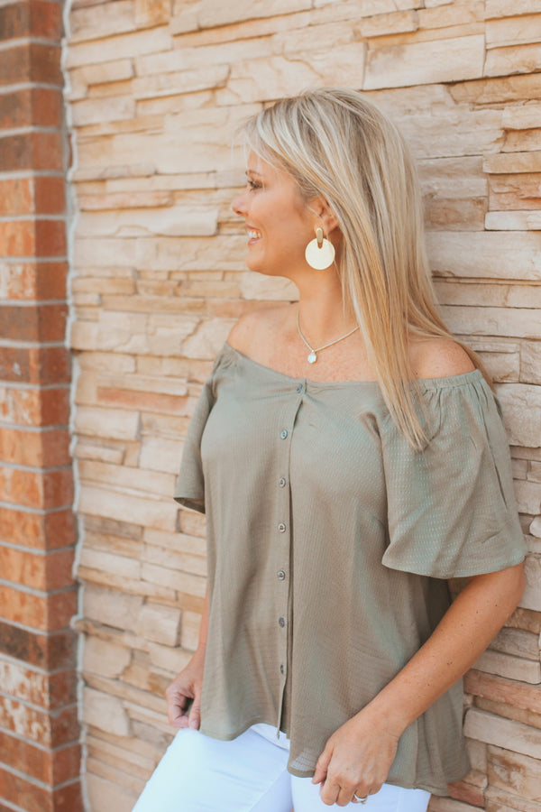 V-Neck Ruffle Sleeve Top-Olive
