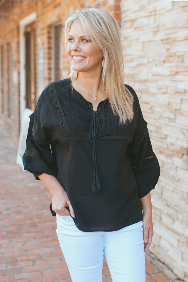 Crochet Peasant Top-Black