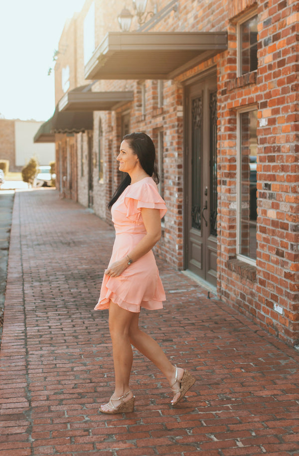 Fit and Flare Dress-Peach