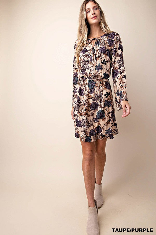Ruffled Hem Flared Sleeve Dress-Bronze/Ash purple