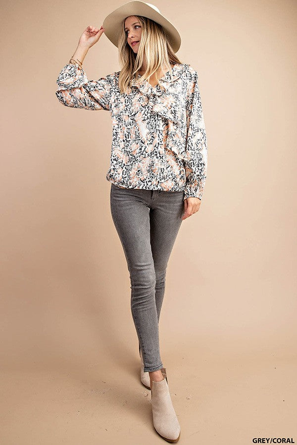 Ruffled Printed Top-Grey/Coral