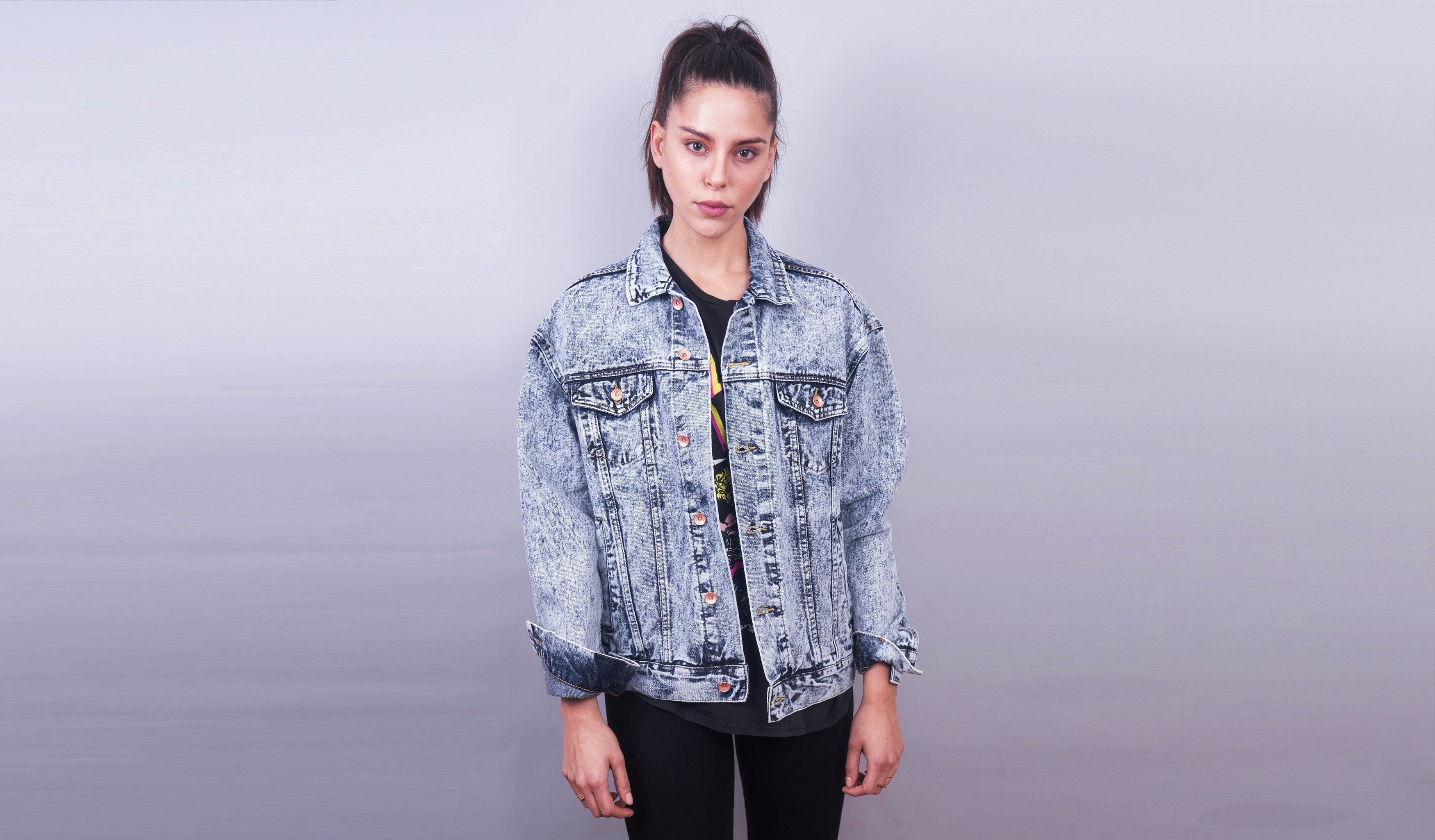 Rocker Back Denim Jacket (Blue Acid Wash)