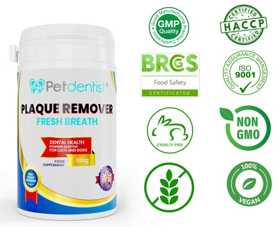 Fresh Breath Natural Plaque Remover Powder for Dogs and Cats Dental Care -180g - Pet Dentist
