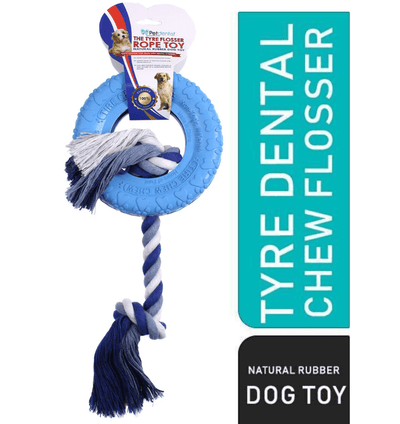 Dog Tyre Rubber Chew Tug Toy with Rope Flosser – Blue - Pet Dentist