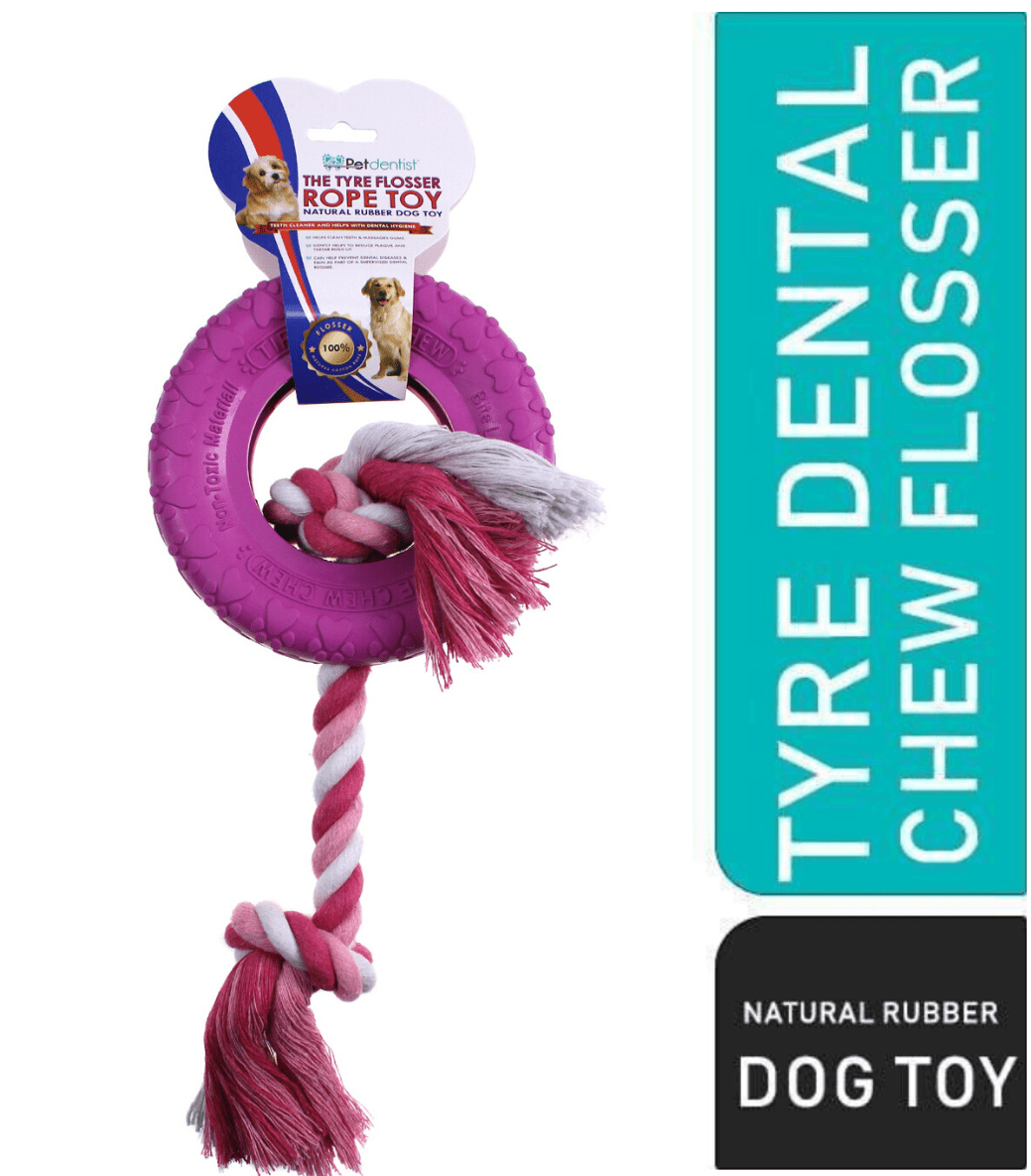 Dog Tyre Rubber Chew Tug Toy with Rope Flosser – Pink - Pet Dentist