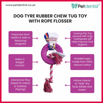 Dog Tyre Rubber Chew Tug Toy with Rope Flosser – Pink - Petdentist