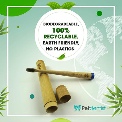 Eco-Friendly Large Breeds Bamboo Charcoal Toothbrush with Natural Bamboo Storage Case - Pet Dentist