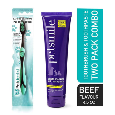 Extra Large Breed Pet Charcoal Toothbrush Plus Petsmile- Broil Flavour Toothpaste 4.5oz - Combo 2 Pk - Pet Dentist