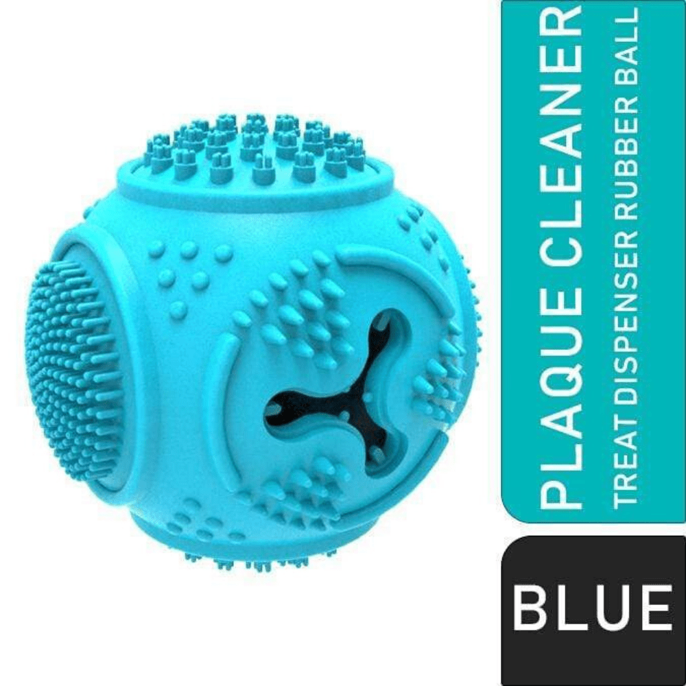 Treat Dispenser Plaque Cleaner Rubber Dog Ball Chew Toy – Blue - Pet Dentist