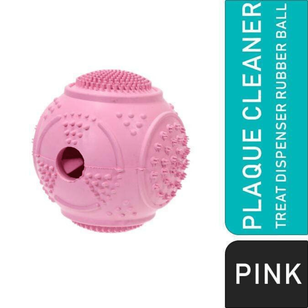 Dog Ball Treat Dispenser Rubber Chew Toy Plaque Cleaner – Pink - Pet Dentist