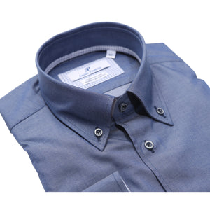 Camicia Uomo Botton Down Slim Fit Elegante Casual Blu Dèlavè