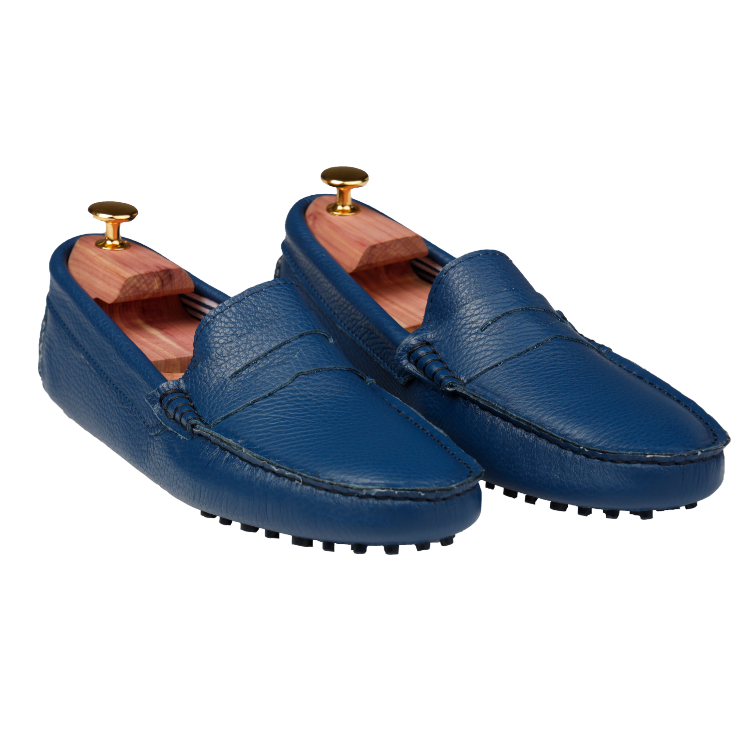 Mocassini Uomo Gommini Pelle Blu Persian