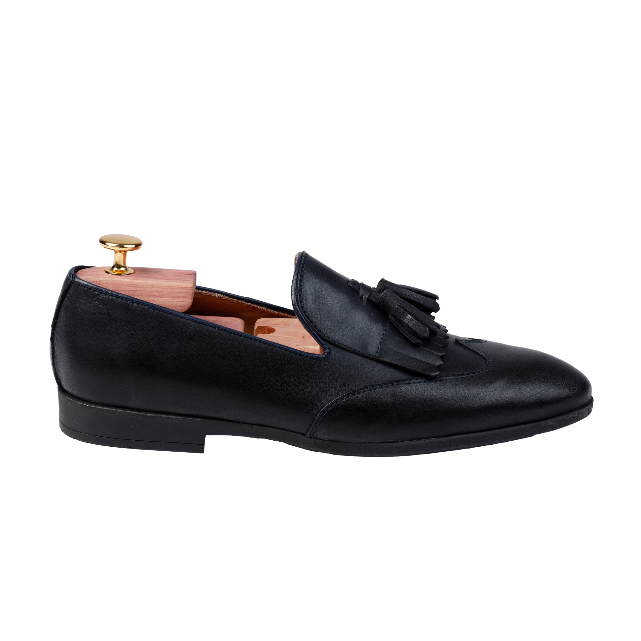 Mocassino uomo in pelle blu loafer con nappine e frange