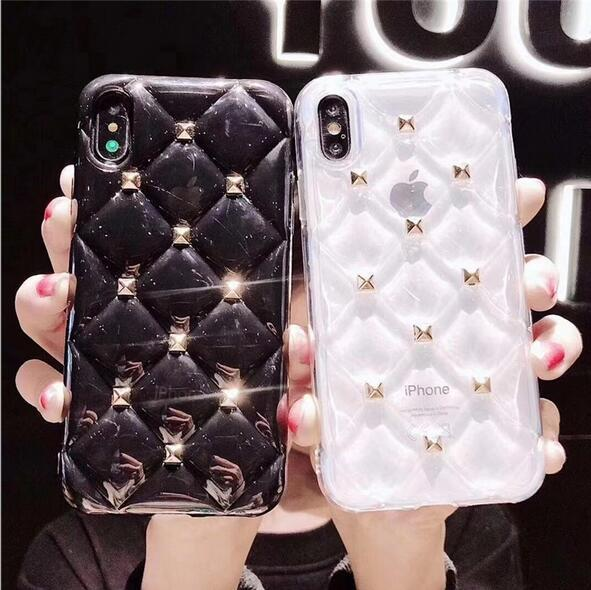 Buy 2 Get 1 Free - Luxury Rivet 3D Rhomboids soft iPhone Case
