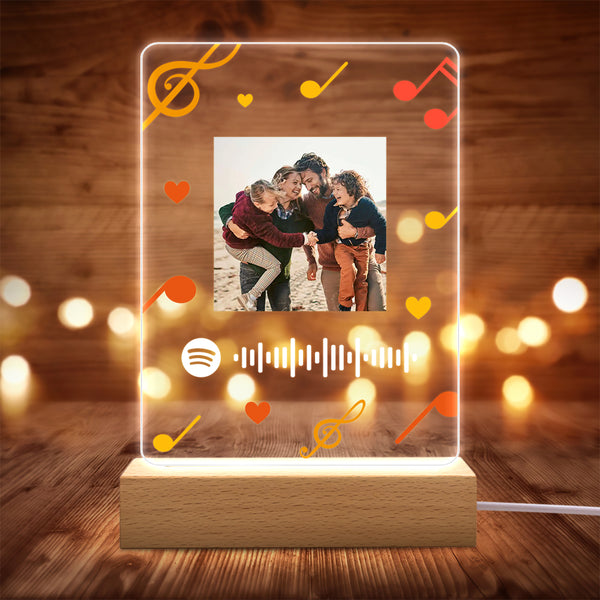 Custom Spotify Code Scannable Personalized Night Light With Wooden Base Smooth Matt Available Note