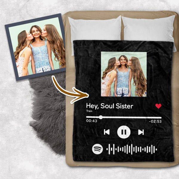 Custom Spotify Code Blanket Personalized Photo Blankets For Besties