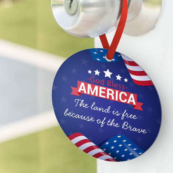 Custom Photo Ornament Round Shape - God Bless America