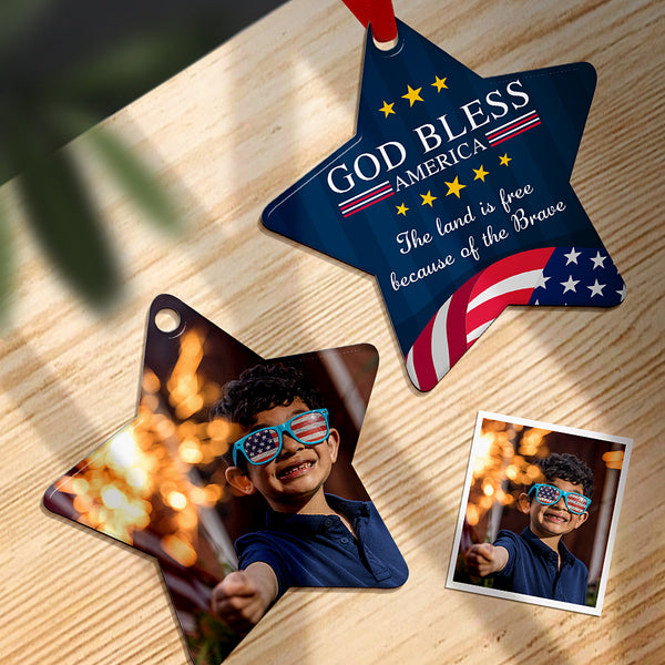 Custom Photo Ornament Star Shape - God Bless America