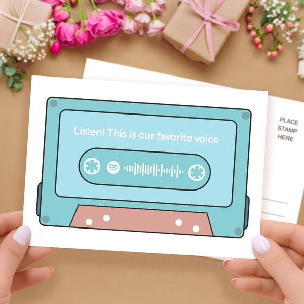 Custom Spotify Code Music Greeting Cards Tape Shaped Scannable Gift Cards