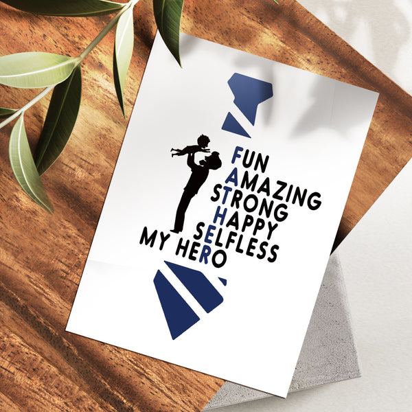 Father's Day Greeting Cards for Dad - White