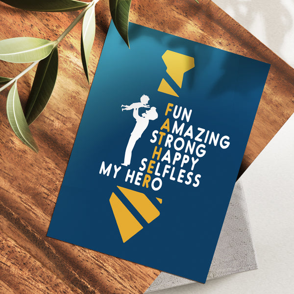 Father's Day Greeting Cards for Dad - Blue