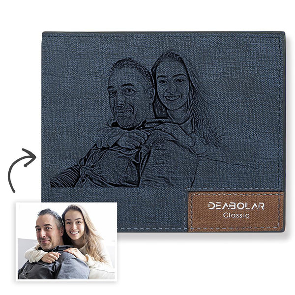 Father's Day Gift - Short Custom Photo Wallet Blue