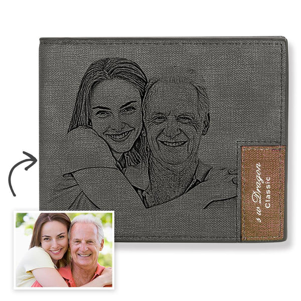 Father's Day Gift - Biffold Short Custom Photo Wallet Grey