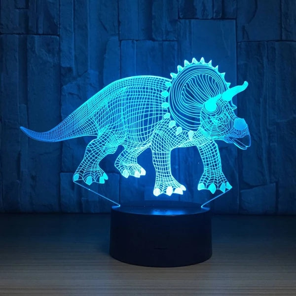 3D Dinosaur Colorful Night Light Illusion Lamp Touch 7 Color Gift For Kids