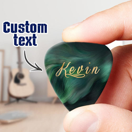 Engraved Guitar Pick Green - 6Pcs