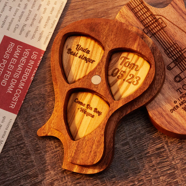 Custom 3PCS Guitar Pick Guitar Wood Picks Box Guitar-Shaped Picks Box Plectrum Container Romantic Gifts