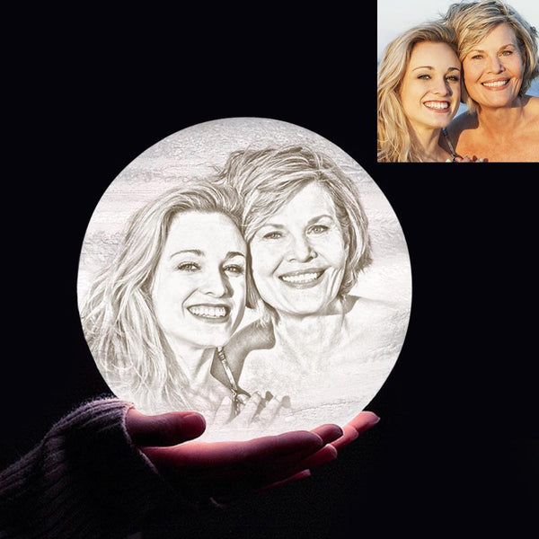 Personalized 3D Printing Photo&Engraved Jupiter Lamp - For MUM - Touch 2 Colors(10cm-20cm)