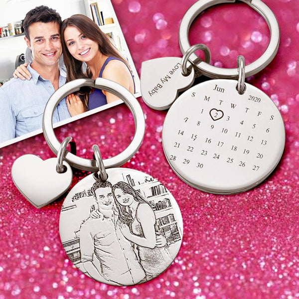 Custom Photo Engraved Calendar Keychain -For Anniversary