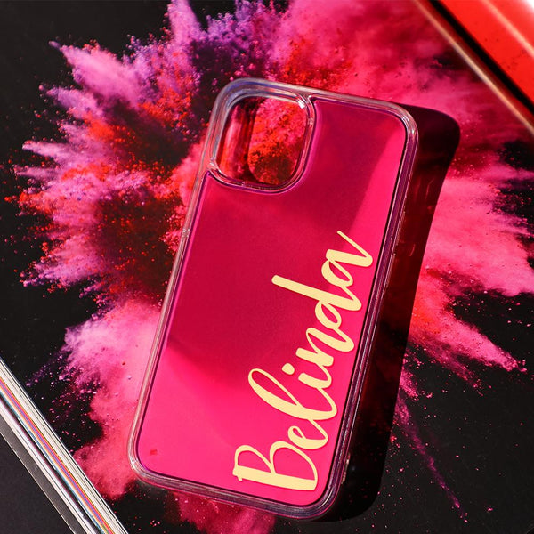 Custom Neon Quicksand iphone Case - Pink