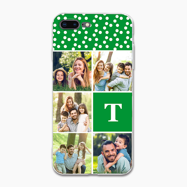 green custom collage iphone case with single letter