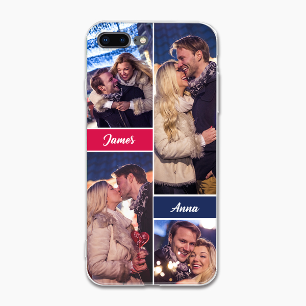 custom 4 photo collage iphone case with two names