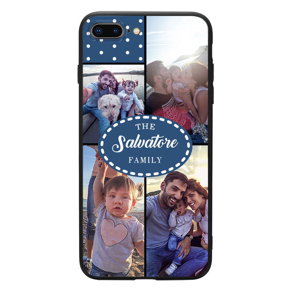 custom 4 photo collage iphone case with family name