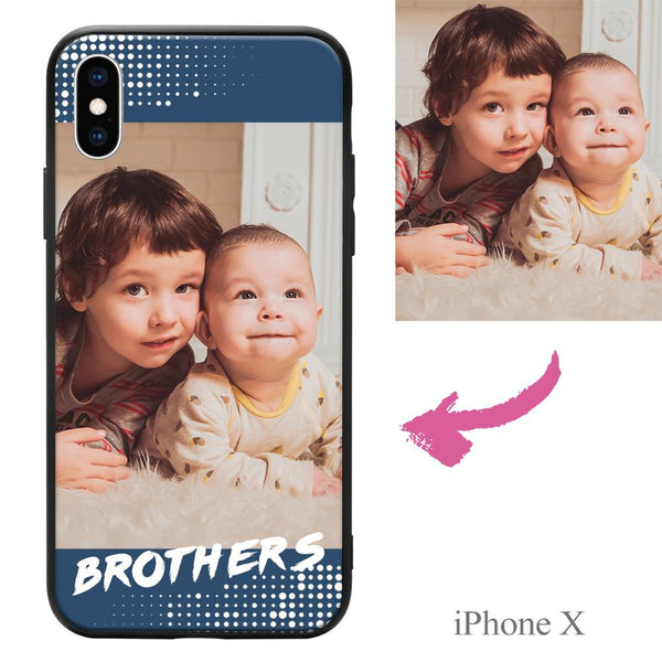 "iPhoneX Custom ""Brothers"" Family Photo Protective Phone Case"