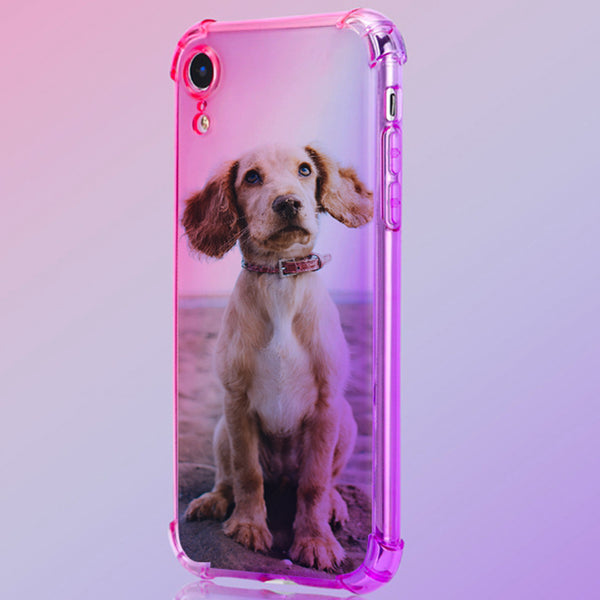 Custom Pet Rainbow Gradient Phone Case(Quadrang Leairbag Anti-fall)